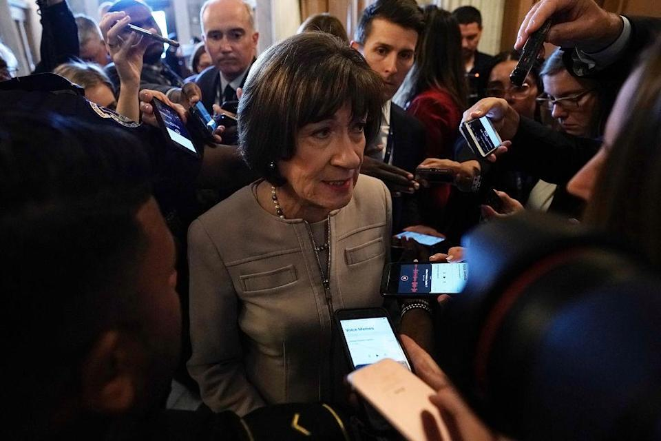 Sen. Susan Collins speaks to reporters after her speech Friday at the U.S. Capitol. (Photo: Alex Wong/Getty Images)