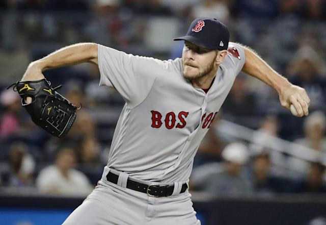 <p>Boston Red Sox's Chris Sale delivers a pitch during the first inning of a baseball game against the New York Yankees, Sunday, Aug. 13, 2017, in New York. (AP Photo/Frank Franklin II) </p>