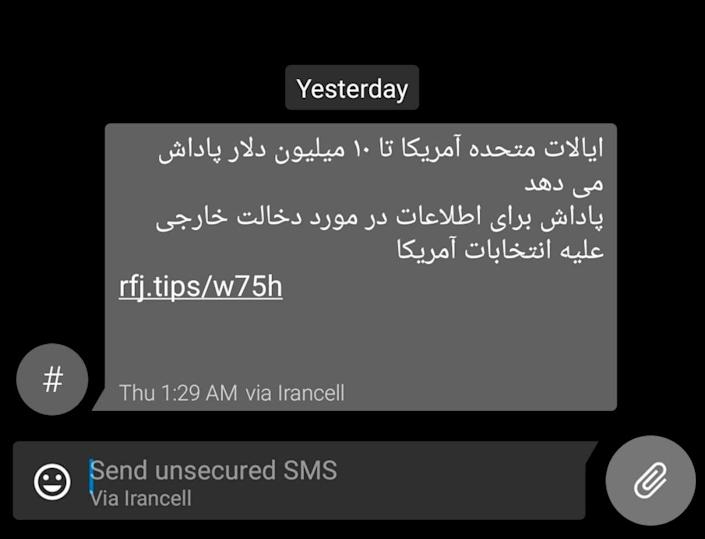 Image: Iranians get SMS barrage offering millions for info on U.S. election hacking (via Reuters)
