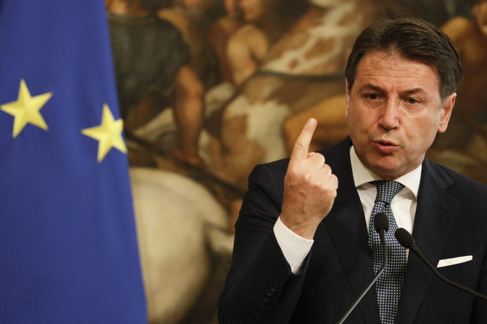"""FILE - In this Tuesday, Sept. 29, 2020 file photo, Italian Premier Giuseppe Conte speaks during a joint press conference with Swiss Confederation President Simonetta Sommaruga following their meeting at Chigi Palace, in Rome. Former Italian Premier Giuseppe Conte on Thursday took to task the founder of the 5-Star Movement founder for a video message defending his son against allegations of sexual assault. Conte, a lawyer by training who has been tapped as the next leader of the movement, said in a statement that he understands """"the anguish of a father, but we cannot overlook that there are also other people in this affair, who must be protected and whose feelings must be absolutely respected, namely the young girl directly involved in the affair."""" (AP Photo/Gregorio Borgia, File)"""