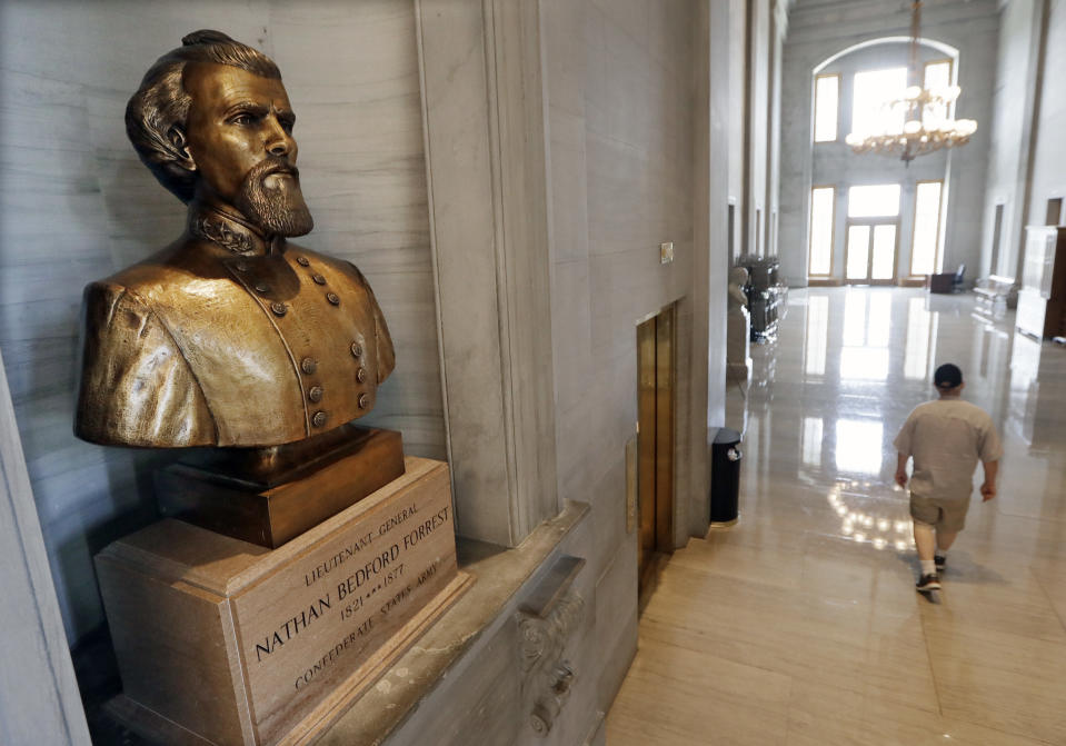 """FILE - In this Aug. 17, 2017 file photo, a bust of Nathan Bedford Forrest is displayed in the Tennessee State Capitol in Nashville, Tenn. Tennessee lawmakers on Tuesday, Jan. 28, 2020, remained torn on whether to support a proposal the removal of a contentious bust of a former Confederate general and early leader of the Ku Klux Klan. If approved by the GOP-controlled Legislature, the measure encourages the bust of Nathan Bedford Forrest be removed from the Tennessee Capitol and instead be replaced with an """"appropriate tribute to a deserving Tennessean."""" (AP Photo/Mark Humphrey, File)"""