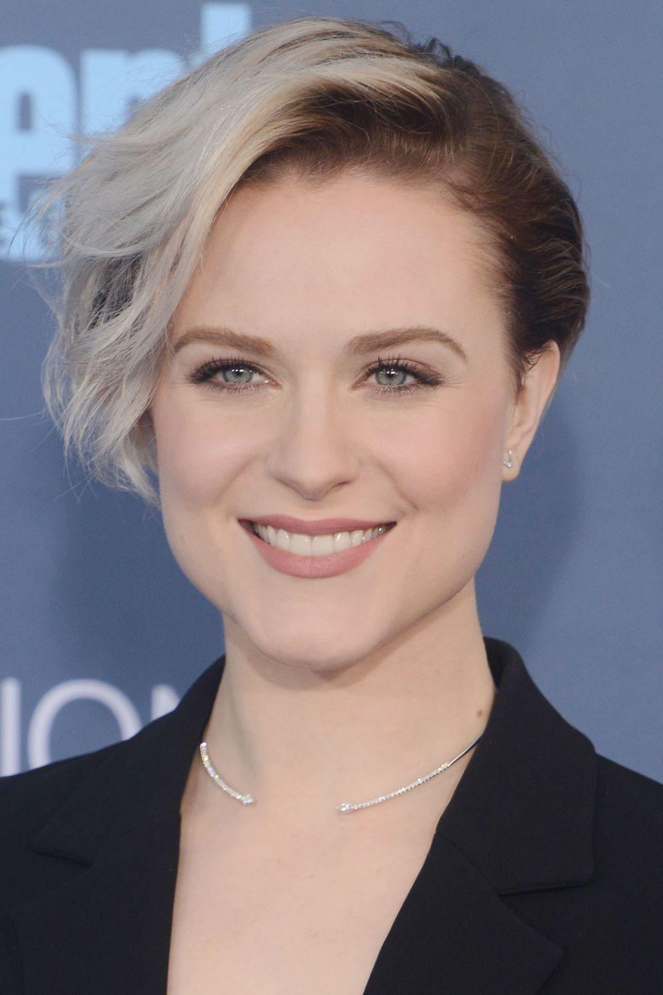 <p>Actress Evan Rachel Wood plays with length and color in her pixie. </p>
