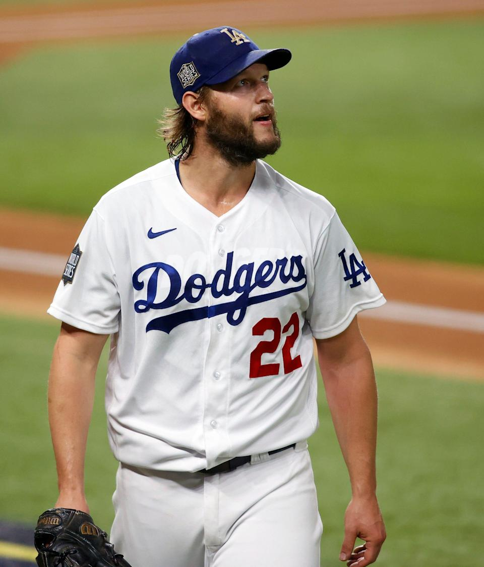 Clayton Kershaw earns the victory in Game 1 of the World Series.