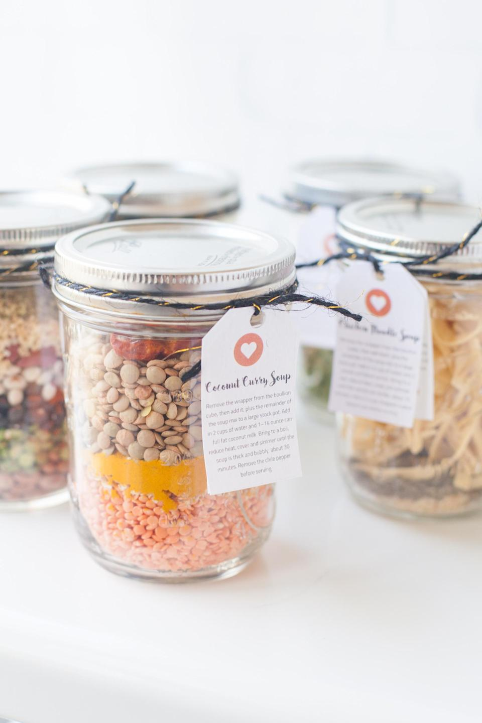 "<p>Homemade soups, jams or chutneys are great gifts in theory, but they don't always look so appetising by the time you've finished making them. Instead, go back to basics and make cute homemade soup jars, which have the benefit of tasting great, and also being really Instagrammable. Find the recipes <strong><a href=""https://wholefully.com/homemade-soup-mixes-in-a-jar/"" rel=""nofollow noopener"" target=""_blank"" data-ylk=""slk:here"" class=""link rapid-noclick-resp"">here</a></strong>. <br><em>[photo: wholefully]</em> </p>"