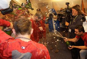 When he finally entered the locker room after his Game 5 victory, Chris Carpenter was doused by Champagne by his Cardinals teammates