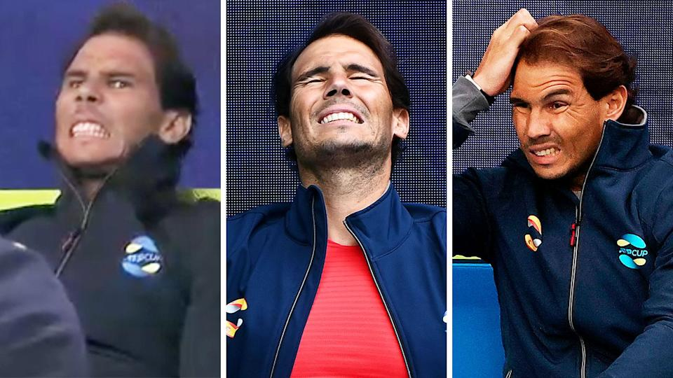 Rafael Nadal (pictured) getting nervous and frustrated during Spain's the ATP Cup clash.