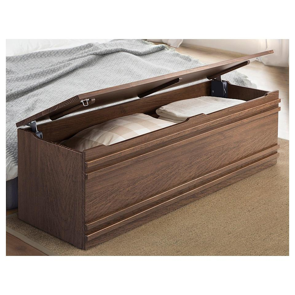 <p>Warm up your bedroom, and store your extra items in the <span>Mathopen Bench</span> ($199).</p>