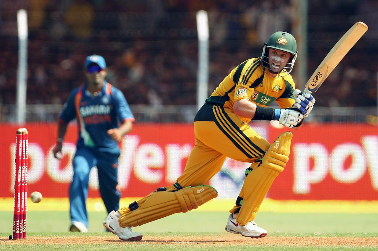 VADODARA, INDIA - OCTOBER 25:  Mike Hussey of Australia bats during the first One Day International match between India and Australia at Reliance Stadium on October 25, 2009 in Vadodara, India.  (Photo by Cameron Spencer/Getty Images)