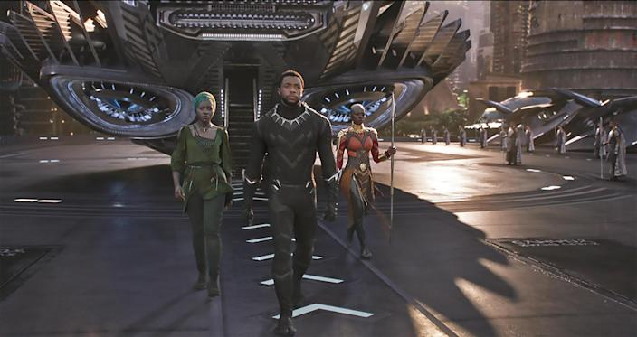 """<h1 class=""""title"""">BLACK PANTHER 2018 Marvel Studios/Walt Disney Pictures film with Chadwick Boseman and Lupita Nyongo'o at left and Danai Gurira at right</h1> <div class=""""caption""""> T'Challa (Chadwick Boseman, center), Nakia (Lupita Nyong'o, left), and Okoye (Danai Gurira) exiting the Royal Talon Fighter in the Ryan Coogler-directed film <em>Black Panther.</em> </div> <cite class=""""credit"""">Photo: Pictorial Press Ltd / Alamy Stock Photo</cite>"""
