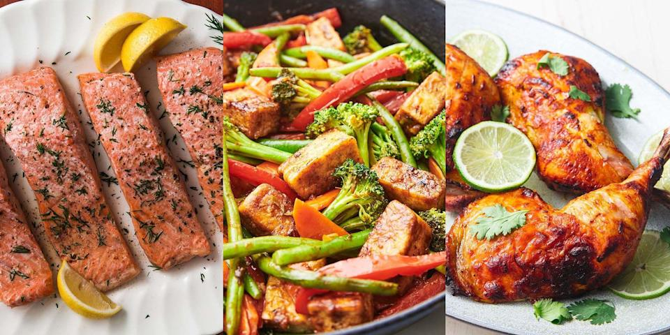 """<p>Eating healthy doesn't have to mean boring and bland food. You can still eat lots of quality and super flavourful dishes. Take our <a href=""""https://www.delish.com/uk/cooking/recipes/a29649539/cajun-stuffed-chicken-recipe/"""" rel=""""nofollow noopener"""" target=""""_blank"""" data-ylk=""""slk:Cajun Stuffed Chicken"""" class=""""link rapid-noclick-resp"""">Cajun Stuffed Chicken</a>, <a href=""""https://www.delish.com/uk/cooking/recipes/a29139134/easy-vegetarian-lasagna-recipe/"""" rel=""""nofollow noopener"""" target=""""_blank"""" data-ylk=""""slk:Veggie Lasagne"""" class=""""link rapid-noclick-resp"""">Veggie Lasagne</a> and <a href=""""http://www.delish.com/uk/cooking/recipes/a29870964/tofu-stir-fry-recipe/"""" rel=""""nofollow noopener"""" target=""""_blank"""" data-ylk=""""slk:Tofu Stir Fry"""" class=""""link rapid-noclick-resp"""">Tofu Stir Fry</a>, they're all super easy to make and delicious. We especially love our <a href=""""https://www.delish.com/uk/cooking/recipes/a30146742/chicken-sweet-potato-curry/"""" rel=""""nofollow noopener"""" target=""""_blank"""" data-ylk=""""slk:Chicken and Sweet Potato Curry"""" class=""""link rapid-noclick-resp"""">Chicken and Sweet Potato Curry</a> recipe, it's pretty insane. Take a look for yourself!</p><p>And since you're here, make sure you check out our <a href=""""https://www.delish.com/uk/cooking/recipes/g29890570/healthy-lunch-ideas/"""" rel=""""nofollow noopener"""" target=""""_blank"""" data-ylk=""""slk:Healthy Lunch Recipes"""" class=""""link rapid-noclick-resp"""">Healthy Lunch Recipes</a>, too. </p>"""