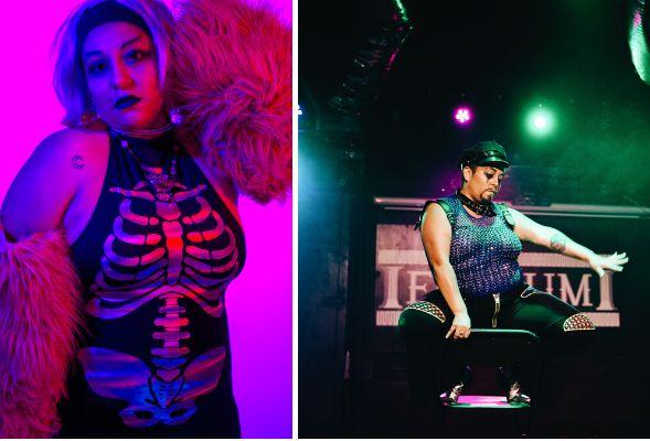 Valeri Abrego out of drag (left), Papi Churro in drag (right). (Photo: Kianna Aether/Javier Gonzalez)