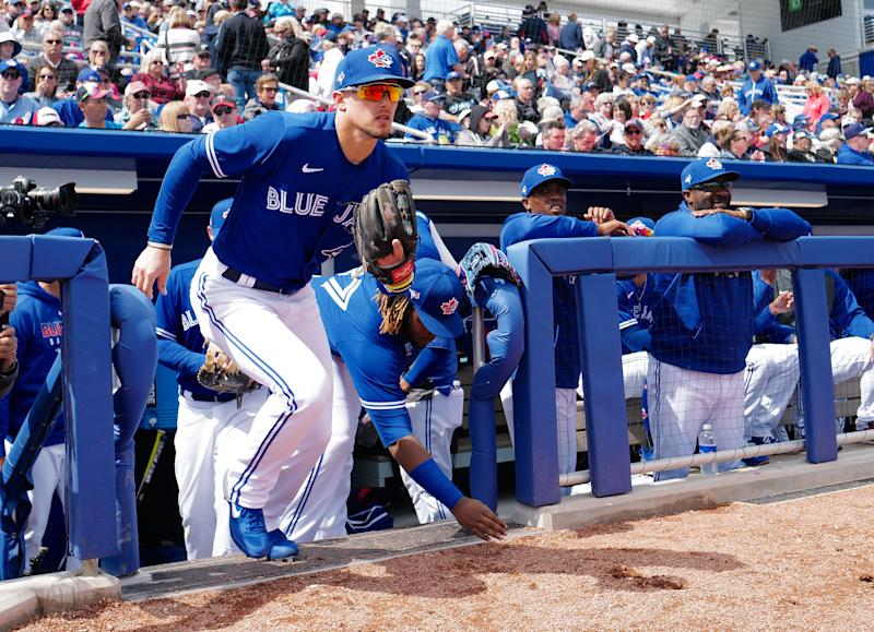 DUNEDIN, FLORIDA - FEBRUARY 27: Cavan Biggio #8 of the Toronto Blue Jays takes the field during the spring training game against the Minnesota Twins at TD Ballpark on February 27, 2020 in Dunedin, Florida. (Photo by Mark Brown/Getty Images)