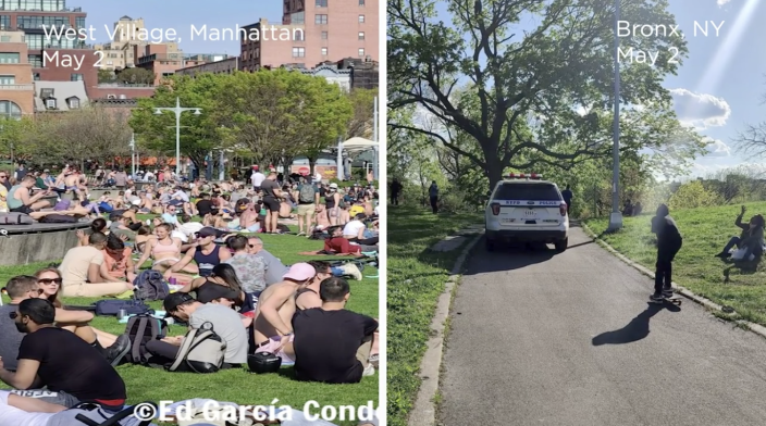 Blogger Ed García Conde, who runs the Instagram page Welcome2TheBronx, captured contrasting park photos on May 2 that show differences in how the NYPD is enforcing social distancing. One photo shows a packed Christopher Street Pier, located on the edge of Greenwich Village, with no police in sight. The other shows a police van patrolling St. Mary's Park in the Bronx, the borough's largest park.