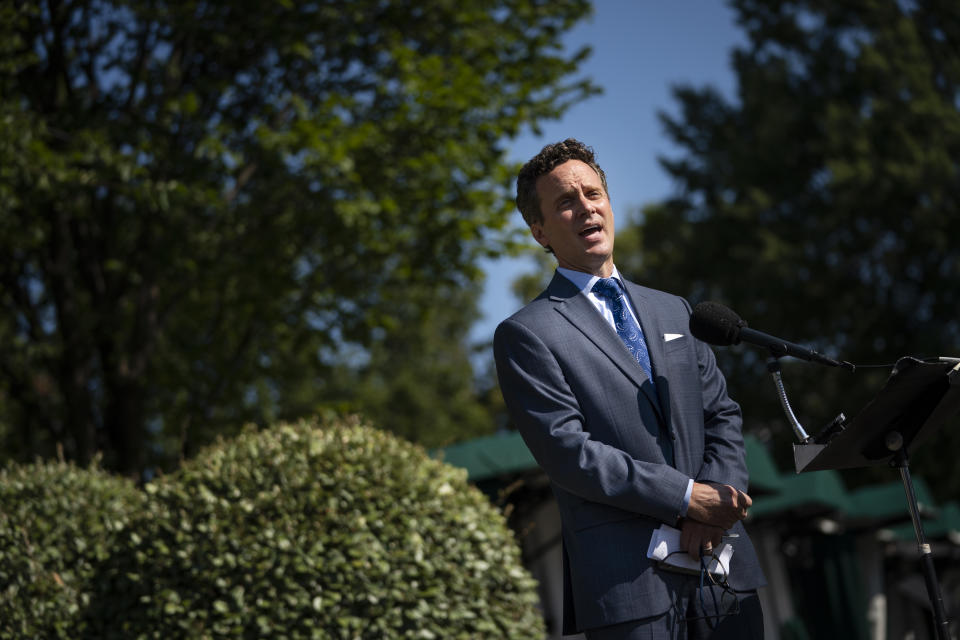 WASHINGTON, DC - AUGUST 05: Joseph Lavorgna, Chief Economist of the National Economic Council (NEC), speaks to reporters outside of the West Wing of the White House on August 5, 2020 in Washington, DC.(Photo by Drew Angerer/Getty Images)
