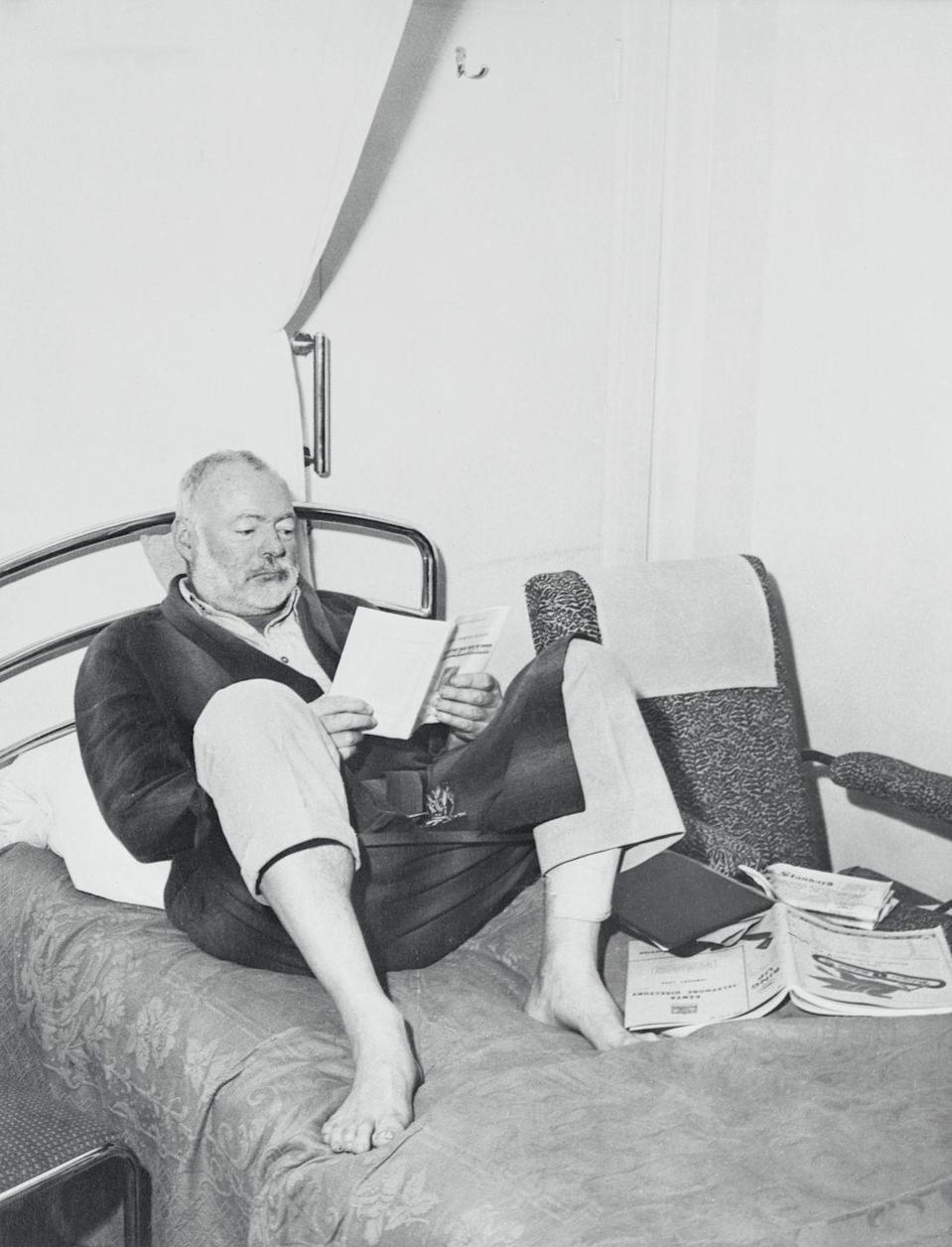 """<p>Hemingway survived not one, but <a href=""""https://archive.nytimes.com/www.nytimes.com/books/99/07/04/specials/hemingway-safe.html#:~:text=ampala%2C%20Uganda%2C%20Monday%2C%20Jan,Nile%20country%20of%20East%20Africa.&text=That%20plane%20crashed%20and%20burned,but%20all%20aboard%20escaped%20unhurt."""" rel=""""nofollow noopener"""" target=""""_blank"""" data-ylk=""""slk:two plane crashes"""" class=""""link rapid-noclick-resp"""">two plane crashes</a>, while traveling in Africa in 1954. The public feared that the literary figure was dead, however Hemingway and his wife survived both crashes. </p>"""