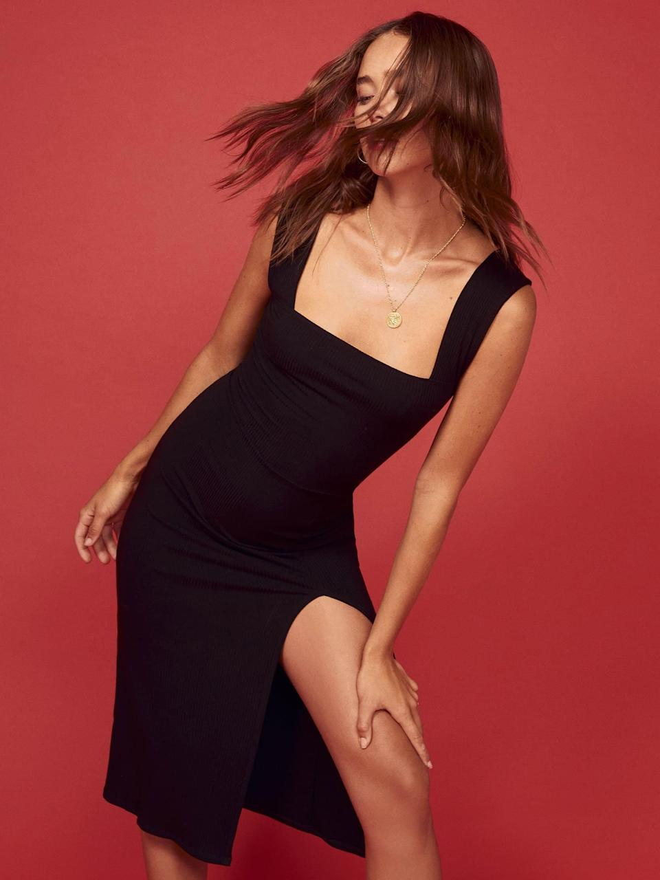"""<p>Because you always need an LBD on hand, get this <a href=""""https://www.popsugar.com/buy/Reformation-Cassi-Dress-572488?p_name=Reformation%20Cassi%20Dress&retailer=thereformation.com&pid=572488&price=148&evar1=fab%3Aus&evar9=46270939&evar98=https%3A%2F%2Fwww.popsugar.com%2Ffashion%2Fphoto-gallery%2F46270939%2Fimage%2F47458030%2FReformation-Cassi-Dress&list1=shopping%2Cdresses%2Csummer%2Csummer%20fashion%2Creformation&prop13=mobile&pdata=1"""" class=""""link rapid-noclick-resp"""" rel=""""nofollow noopener"""" target=""""_blank"""" data-ylk=""""slk:Reformation Cassi Dress"""">Reformation Cassi Dress</a> ($148).</p>"""
