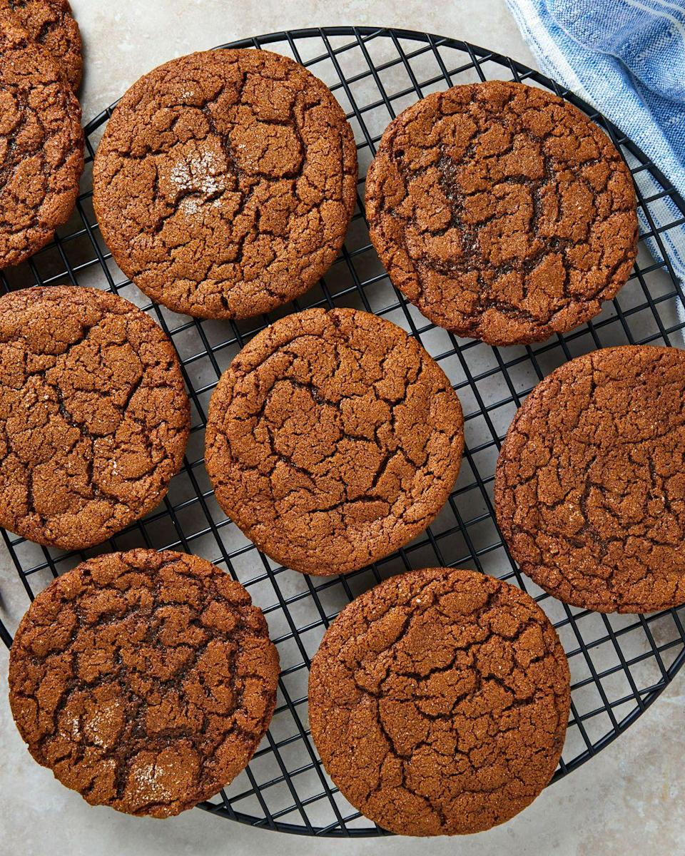 """<p>These gingersnaps are big, gingery, and extra extra chewy. We are obsessed with the gingersnaps from <a href=""""http://www.breezyhillorchard.com/"""" rel=""""nofollow noopener"""" target=""""_blank"""" data-ylk=""""slk:Breezy Hill Orchard"""" class=""""link rapid-noclick-resp"""">Breezy Hill Orchard</a> and tried to get these as close to theirs as possible.</p><p>Get the recipe from <a href=""""https://www.delish.com/cooking/recipe-ideas/a35045861/gingersnap-cookies-recipe/"""" rel=""""nofollow noopener"""" target=""""_blank"""" data-ylk=""""slk:Delish"""" class=""""link rapid-noclick-resp"""">Delish</a>.</p>"""