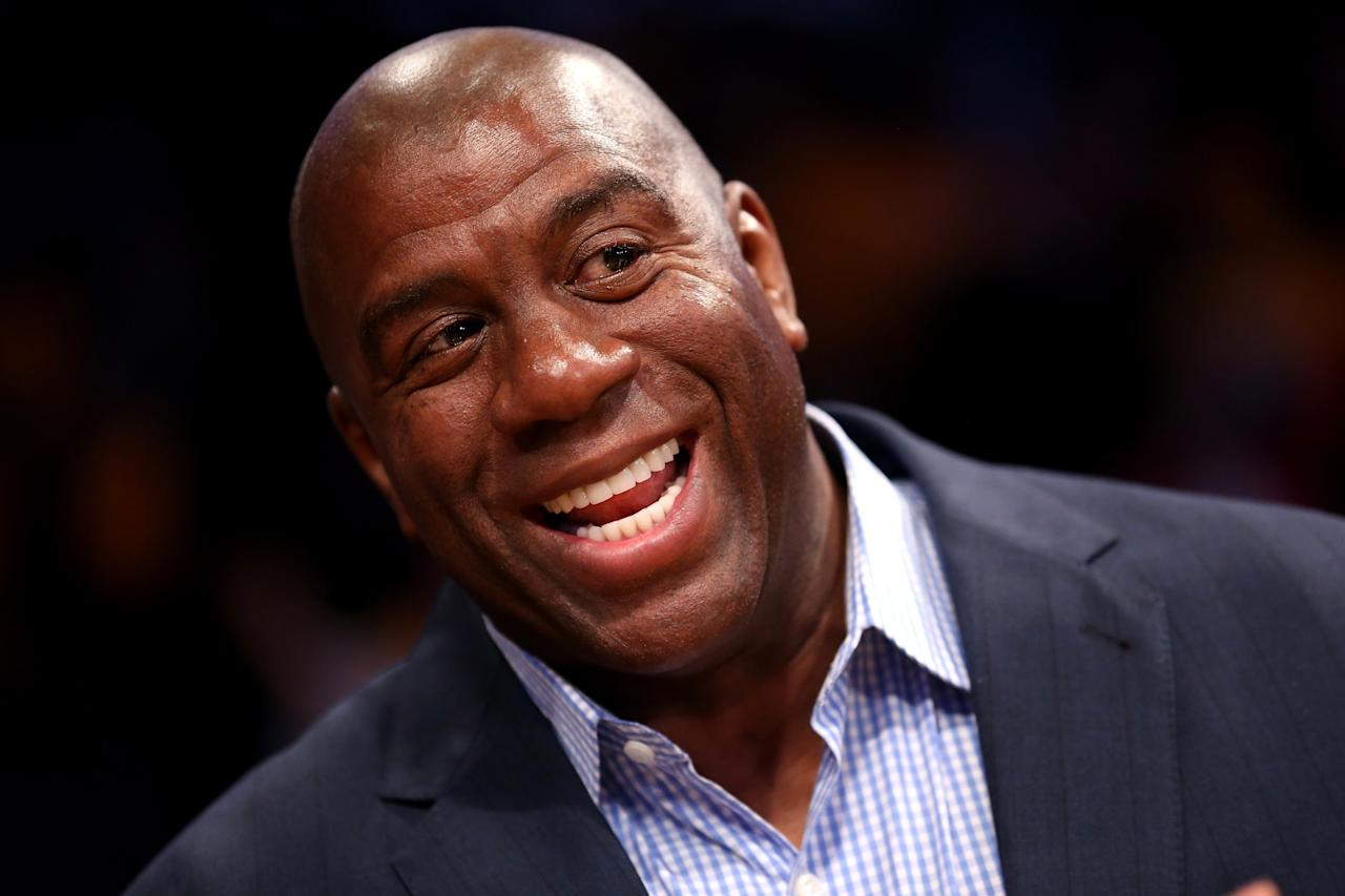 LOS ANGELES, CA - OCTOBER 30:   Los Angeles Lakers Hall of Fame player and current part owner of the Los Angeles Dodgers Magic Johnson attends the game with the Dallas Mavericks at Staples Center on October 30, 2012 in Los Angeles, California.  The Mavericks won 99-91.  NOTE TO USER: User expressly acknowledges and agrees that, by downloading and or using this photograph, User is consenting to the terms and conditions of the Getty Images License Agreement.  (Photo by Stephen Dunn/Getty Images)