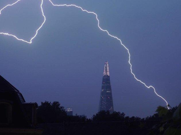 Lightning over The Shard in central London on Saturday.