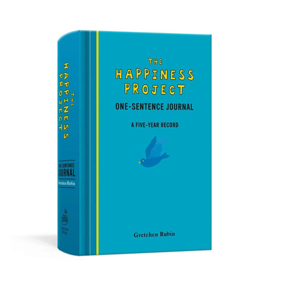"Discover the the transformative powers of writing just one sentence per day with this to-the-point journal that will become a time capsule of the next five years of your life. Inspired by Gretchen Rubin's best-selling book, <a href=""https://amzn.to/35Xg8Lu"" rel=""nofollow noopener"" target=""_blank"" data-ylk=""slk:The Happiness Project"" class=""link rapid-noclick-resp""><em>The Happiness Project</em></a>, this daily ritual strikes up a sense of accomplishment while allowing you to notice how your entries evolve over time. $15, Amazon. <a href=""https://www.amazon.com/Happiness-Project-One-Sentence-Journal-Five-Year/dp/0307888576"" rel=""nofollow noopener"" target=""_blank"" data-ylk=""slk:Get it now!"" class=""link rapid-noclick-resp"">Get it now!</a>"