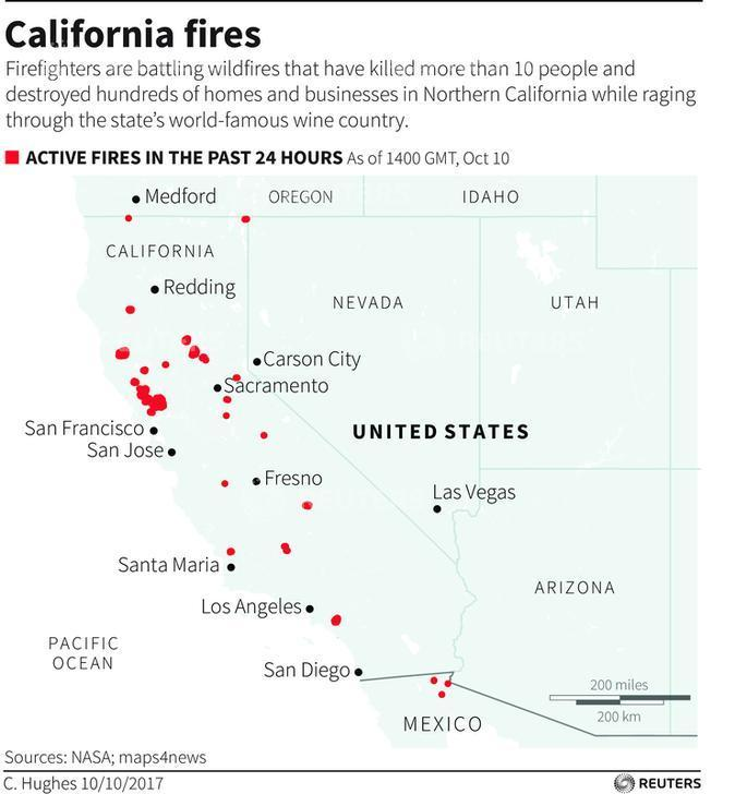 Arizona Active Fire Map.Napa Fire Map Napa Valley Timeline Death Toll Smoke Impact From