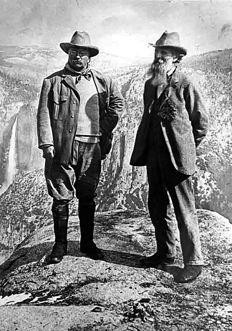 FILE - This May 2013 photo provided by the U.S. National Park Service shows President Theodore Roosevelt, left, and naturalist John Muir during their camping trip, n Yosemite National Park near Glacier Point. The Sierra Club is reckoning with the racist views of founder John Muir, the naturalist who helped spawn environmentalism. The San Francisco-based environmental group said Wednesday, July 22, 2020, that Muir was part of the group's history perpetuating white supremacy. Executive Director Michael Brune says Muir made racist remarks about Black people and Native Americans, though his views later evolved. (U.S. National Park Service via AP)