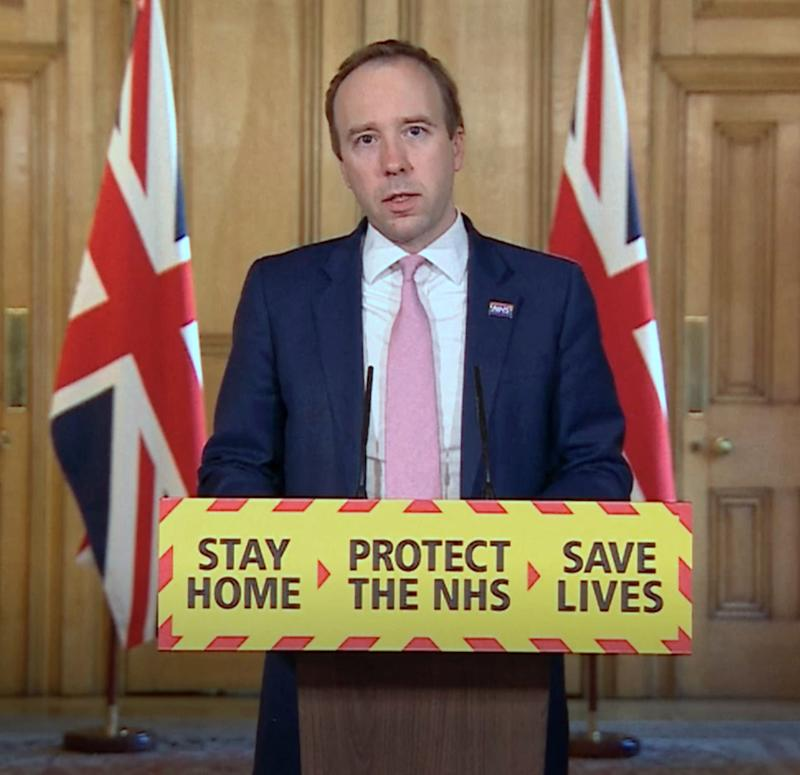 Screen grab of Health Secretary Matt Hancock, during a media briefing in Downing Street, London, on coronavirus (COVID-19).