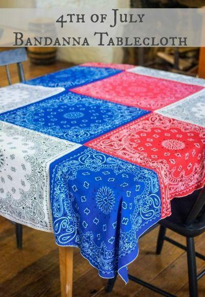 """<p>To make this tablecloth, you'll want to line up red, white, and blue bandanas before sewing them together. </p><p><em>Get the tutorial from <a href=""""http://www.thisgrandmaisfun.com/4th-july-bandanna-tablecloth/"""" rel=""""nofollow noopener"""" target=""""_blank"""" data-ylk=""""slk:This Grandma Is Fun"""" class=""""link rapid-noclick-resp"""">This Grandma Is Fun</a>.</em></p><p><strong><strong>What You'll Need:</strong> </strong><a href=""""https://www.amazon.com/Iron-Clothing-Patches-BANDANA-PRINTS/dp/B00J52OWWG/?tag=syn-yahoo-20&ascsubtag=%5Bartid%7C10070.g.2446%5Bsrc%7Cyahoo-us"""" rel=""""nofollow noopener"""" target=""""_blank"""" data-ylk=""""slk:Bandanas"""" class=""""link rapid-noclick-resp"""">Bandanas</a> ($13, Amazon)<br></p>"""