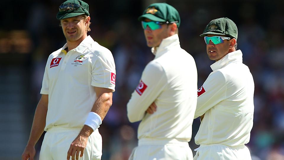 Michael Clarke, pictured here with Shane Watson and Ricky Ponting in 2012.