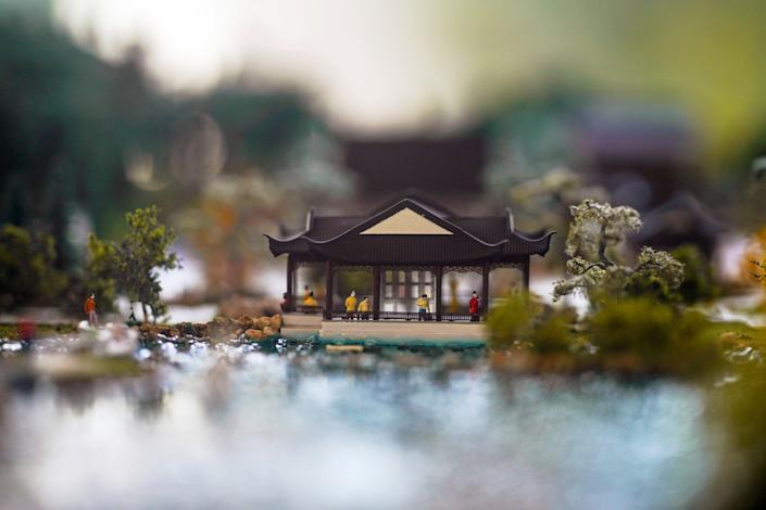 A miniature display of the Huntington's Chinese Garden.
