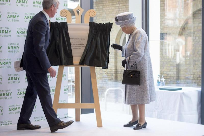 Grand re-opening: The Queen unveiled a plaque at the National Army Museum (PA)
