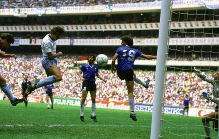 FILE PHOTO: England's Gary Lineker scores against Argentina - Azteca Stadium, Mexico City - 22/6/86. Action Images / Sporting Pictures / Nick Kidd/File Photo