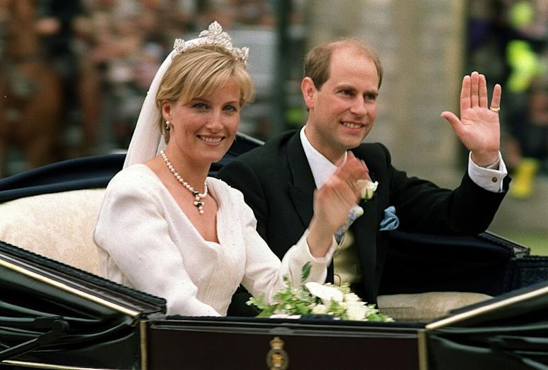 Sophie and Prince Edward at their 1999 wedding | MIKE SIMMONDS/AFP via Getty