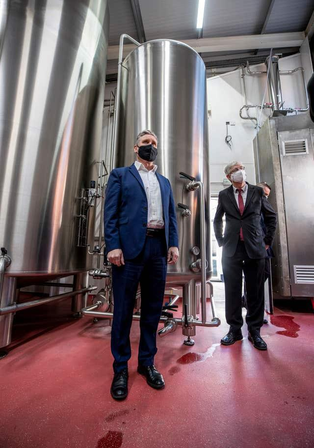 Sir Keir Starmer and Mark Drakeford at Wrexham Lager brewery