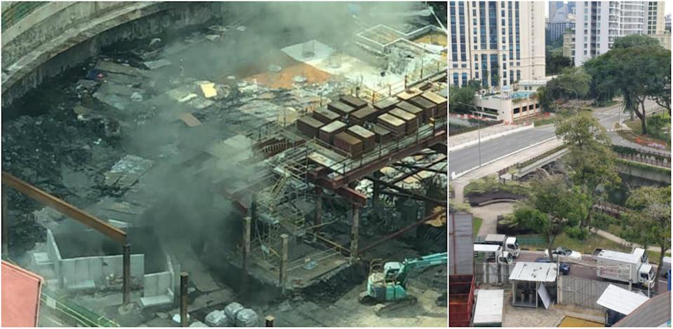 From left to right: A photo taken following the second controlled detonation on 18 November, 2019 and a view of the traffic along Kim Seng Road being diverted during the operation. (PHOTOS: Yahoo News Singapore readers)