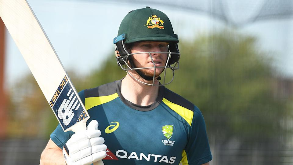 Pictured here, batsman Steve Smith during a net session for Australia.