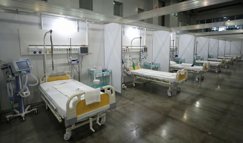 An interior view shows a pavilion of Crocus exhibition center following the decision of local authorities to turn it into a temporary hospital amid the coronavirus disease (COVID-19) outbreak in Moscow