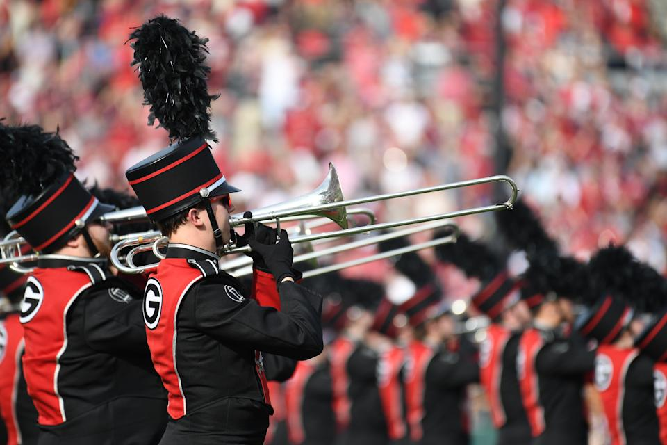 PASADENA, CA - JANUARY 01: Georgia Bulldogs Georgia Redcoat band plays before the College Football Playoff Semifinal at the Rose Bowl Game between the Georgia Bulldogs and Oklahoma Sooners on January 1, 2018, at the Rose Bowl in Pasadena, CA. (Photo by John Cordes/Icon Sportswire via Getty Images)