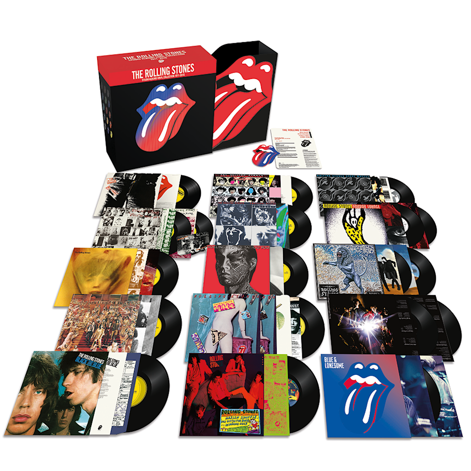 """<p>This brand-new, heavyweight 180-gram black vinyl collection features 15 albums across 20 LPs, all wrapped up in a """"highly bespoke, lenticular mounted"""" limited-edition box. Stones fans will want to get their sticky fingers on this. </p>"""
