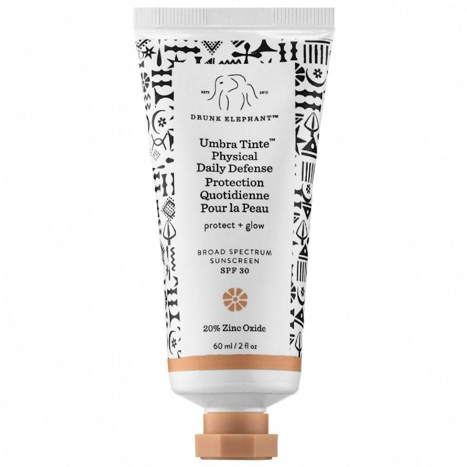 """<p><strong>Drunk Elephant</strong></p><p>sephora.com</p><p><strong>$36.00</strong></p><p><a href=""""https://go.redirectingat.com?id=74968X1596630&url=https%3A%2F%2Fwww.sephora.com%2Fproduct%2Fumbra-tinte-tm-physical-daily-defense-broad-spectrum-sunscreen-spf-30-P419221&sref=https%3A%2F%2Fwww.prevention.com%2Fbeauty%2Fskin-care%2Fg26902204%2Fbest-tinted-sunscreens%2F"""" rel=""""nofollow noopener"""" target=""""_blank"""" data-ylk=""""slk:SHOP NOW"""" class=""""link rapid-noclick-resp"""">SHOP NOW</a></p><p>Drunk Elephant's tinted sunscreen is packed with chemical-free protection. Zinc oxide and algae extract defend against harmful UV rays, while sunflower sprout extract neutralizes skin-damaging free radicals and environmental aggressors. <strong>Designed for all skin types, </strong>the silicone-free cream moisturizes with marula and raspberry seed oil—without leaving a chalky white cast behind.<br></p>"""
