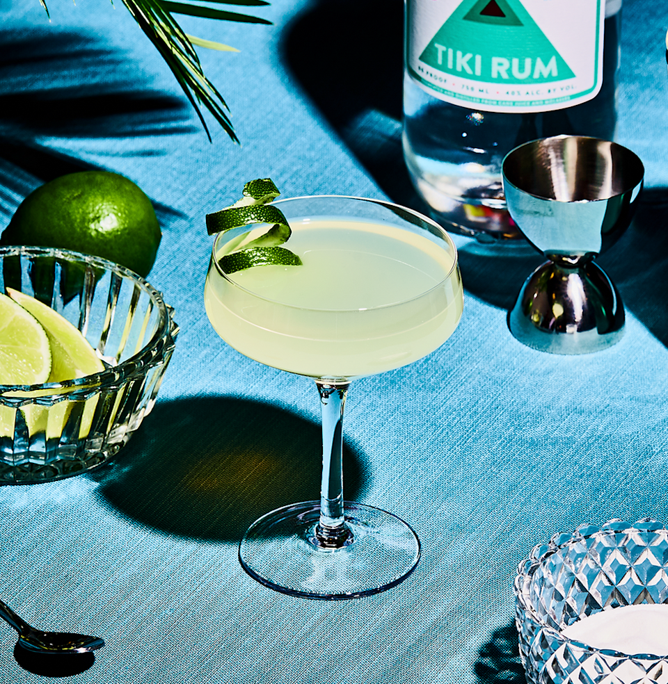 """<p><em>There's no need to blend a Daiquiri with ice and sweetened strawberry pulp, à la Applebee's. This way—the classic way—is much better.</em></p><p><strong>Ingredients</strong></p><p>• 2 oz. white rum<br>• 1/2 tsp. superfine sugar<br>• 1/2 oz. lime juice </p><p><strong>Directions</strong></p><p>Squeeze the lime into your shaker, stir in the sugar, and then add the rum. Shake well with cracked ice, then strain into a chilled cocktail glass. </p><p><a class=""""link rapid-noclick-resp"""" href=""""https://www.esquire.com/food-drink/drinks/recipes/a3745/daiquiri-drink-recipe/"""" rel=""""nofollow noopener"""" target=""""_blank"""" data-ylk=""""slk:Read More"""">Read More</a></p>"""