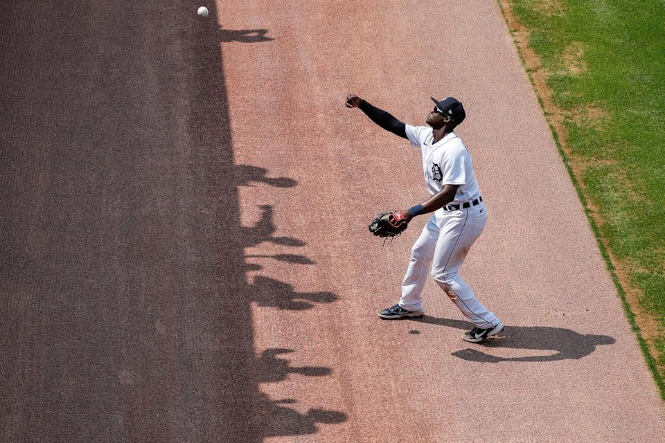 Detroit Tigers center fielder Daz Cameron (41) throws a ball to fans during a game against Los Angeles Angels at Comerica Park in Detroit, Thursday, August 19, 2021.