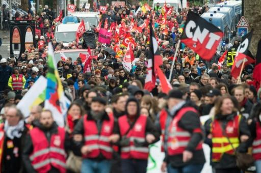A march against a planned pensions overhaul in Nantes, western France, on Thursday