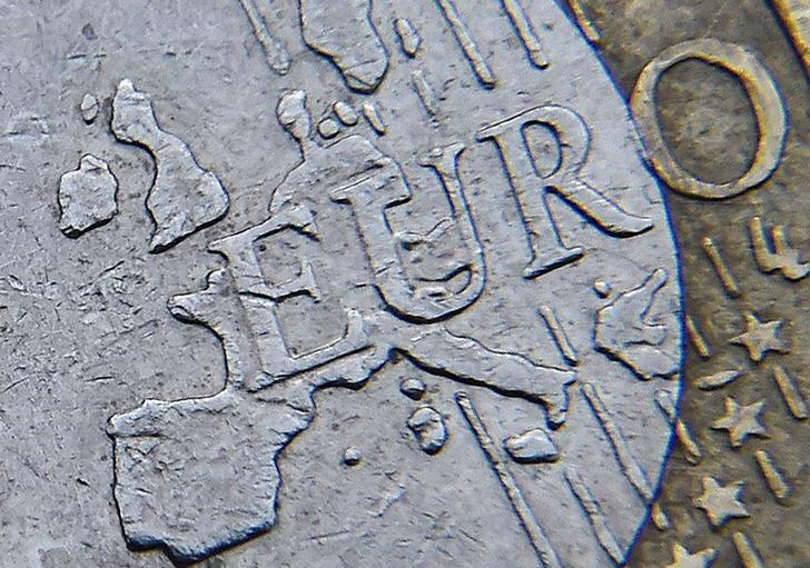 FILE PHOTO: Detail of a European map is seen on the face of a euro coin