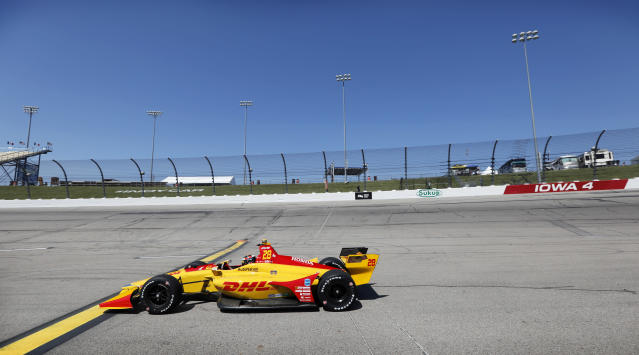 Ryan Hunter-Reay (28) drives his car during practice for the IndyCar Series auto race Saturday, July 7, 2018, at Iowa Speedway in Newton, Iowa. (AP Photo/Charlie Neibergall)