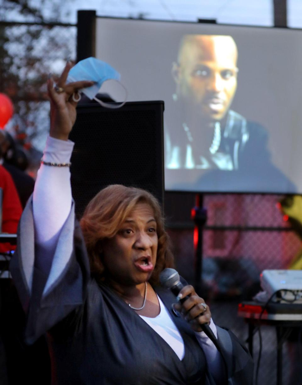 Shawyn Patterson-Howard, the mayor of Mount Vernon, N.Y. speaks during a celebration of the life of Earl Simmons, the rapper know as DMX, at the Fourth St. Park in Mount Vernon April 14, 2021.