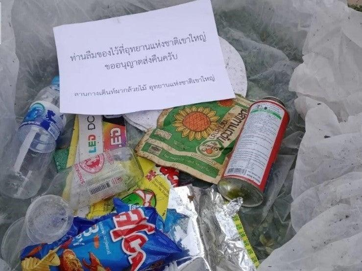 Litter collected from Khao Yai National Park in Thailand (Screengrab / Facebook)