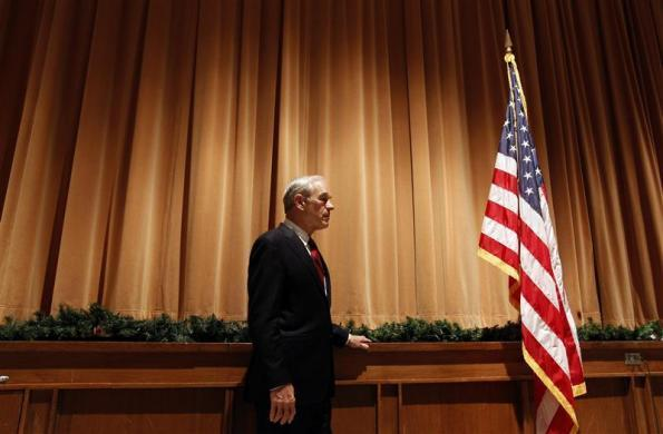 Ron Paul waits to speak at a town hall meeting during a campaign stop in Marshalltown, Iowa, December 10, 2011. (REUTERS/Jeff Haynes)