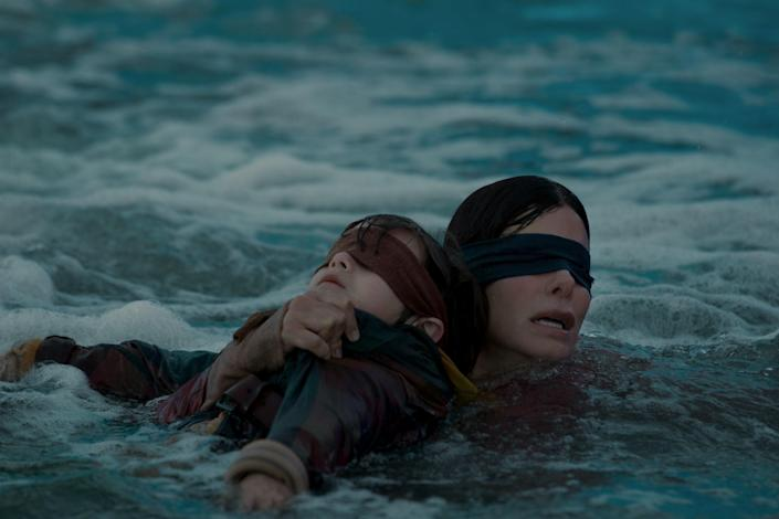 """<p>This Sandra Bullock thrill ride was a viral hit when it showed up on Netflix in December 2018. It centers on a woman who must survive in a postapocalyptic universe where you'll die if you use your sight. Sarah Paulson, Trevante Rhodes, and John Malkovich costar alongside Bullock. </p> <p><a href=""""https://www.netflix.com/title/80196789"""" rel=""""nofollow noopener"""" target=""""_blank"""" data-ylk=""""slk:Available to stream on Netflix"""" class=""""link rapid-noclick-resp""""><em>Available to stream on Netflix</em></a></p>"""