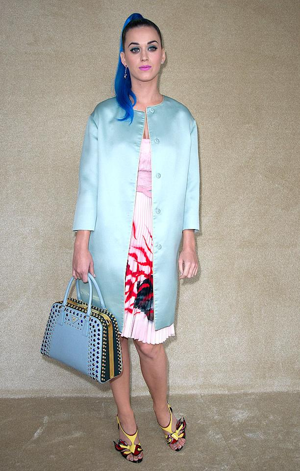 Speaking of Ms. Perry, she has landed in WWTT?! for the second consecutive week thanks to the egregious getup she donned for the Miu Miu presentation at Paris Fashion Week. The pop tart's Prada coat, dress, bag, and heels may have succeeded if properly paired with other elements, but -- as a combo -- they made for one big mess. And don't get us started on her hideously hued high pony. (3/7/2012)